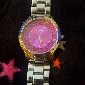 Pink Rhinestone Bling Watch